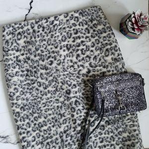 Ann Taylor Wool Blend Leopard Print Skirt